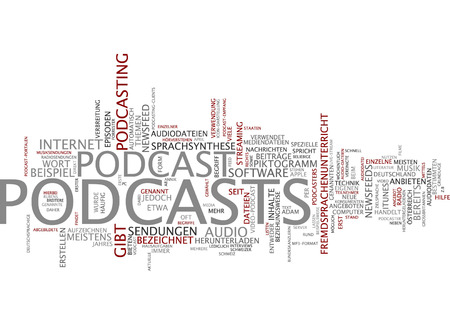 newsfeed: Word cloud of podcasts in German language Stock Photo