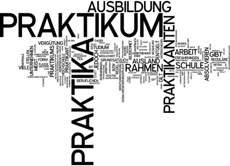remuneration: Word cloud of internship placements in German language Stock Photo