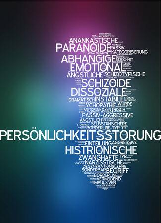 Parola nube di disturbo di personalità in lingua tedesca Archivio Fotografico - 34252574