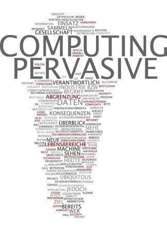 Word cloud of pervasive computing in German language photo