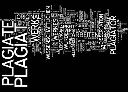 plagiarism: Word cloud of plagiarism in German language