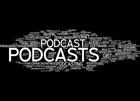 podcasting: Word cloud of podcasts in German language Stock Photo