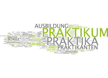 internship: Word cloud of internship placements in German language Stock Photo