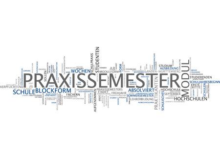 semester: Word cloud of practical semester in German language Stock Photo