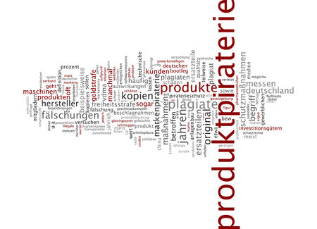 piracy: Word cloud of piracy in German language Stock Photo