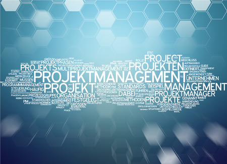 project: Word cloud of project management in German language Stock Photo