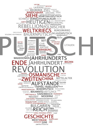 coup: Word cloud of coup in German language Stock Photo