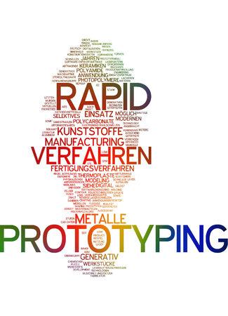 Word cloud of prototyping in German language photo