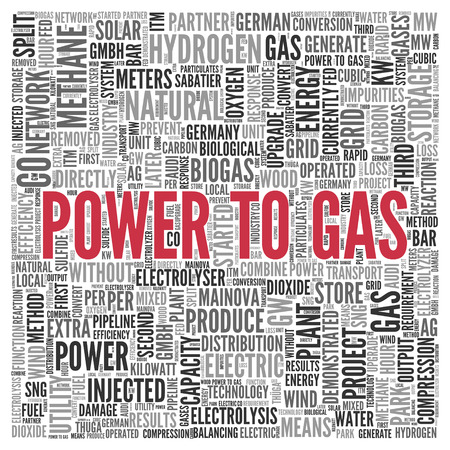 biogas: Close up Red POWER TO GAS Text at the Center of Word Tag Cloud on White Background. Stock Photo