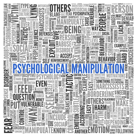 manipulation: Close up Blue PSYCHOLOGICAL MANIPULATION Text at the Center of Word Tag Cloud on White Background.