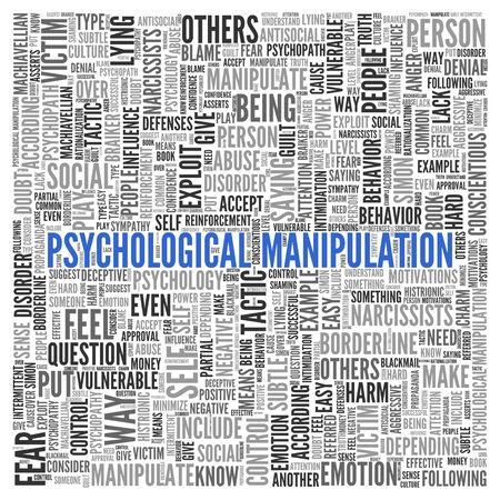 psychopathe: Gros plan Bleu PSYCHOLOGIQUE MANIPULATION texte au centre de la Parole Tag Cloud sur fond blanc. Banque d'images