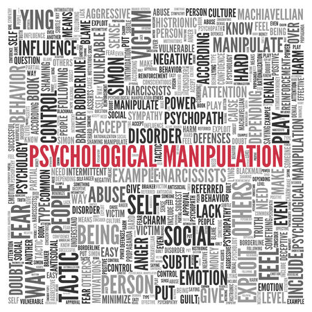 vulnerable: Close up Red PSYCHOLOGICAL MANIPULATION Text at the Center of Word Tag Cloud on White Background.
