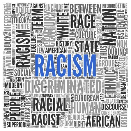 racismo: Cierre de azul RACISMO Texto en el Tag Centro de nube de la palabra en el fondo blanco. Foto de archivo