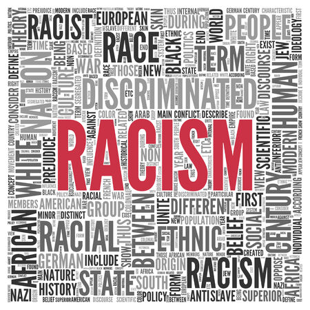 discourse: Close up Red RACISM Text at the Center of Word Tag Cloud on White Background.