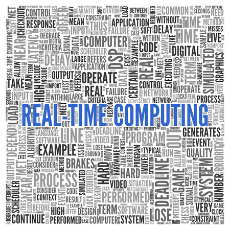 performed: Close up Blue REAL-TIME COMPUTING Text at the Center of Word Tag Cloud on White Background.