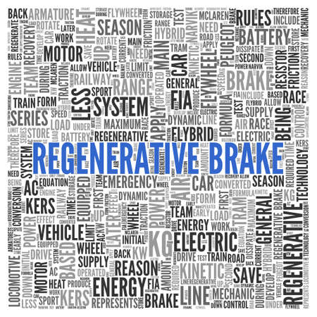 friction: Close up Blue REGENERATIVE BRAKE Text at the Center of Word Tag Cloud on White Background.