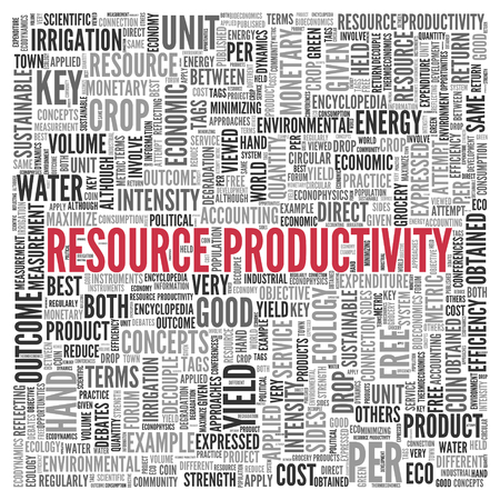 obtained: Close up Red RESOURCE PRODUCTIVITY Text at the Center of Word Tag Cloud on White Background.