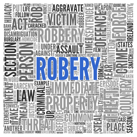 intent: Close up Blue ROBERY Text at the Center of Word Tag Cloud on White Background.