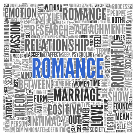 Close up Blue ROMANCE Text at the Center of Word Tag Cloud on White Background.