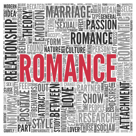 the intimacy: Close up Red ROMANCE Text at the Center of Word Tag Cloud on White Background. Stock Photo