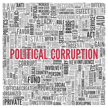 tagcloud: Close up Red POLITICAL CORRUPTION Text at the Center of Word Tag Cloud on White Background. Stock Photo