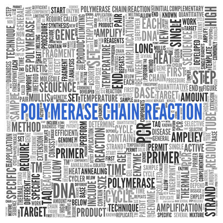 polymerase: Close up Blue POLYMERASE CHAIN REACTION Text at the Center of Word Tag Cloud on White Background.