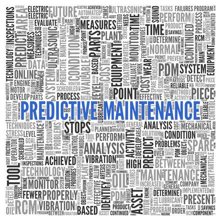predictive: Close up Blu PREDITTIVA MANUTENZIONE Testo al Centro di tag cloud parola su sfondo bianco.