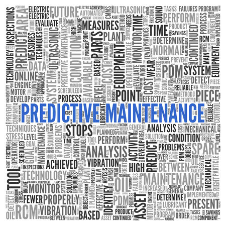 predictive: Close up Blue PREDICTIVE MAINTENANCE Text at the Center of Word Tag Cloud on White Background. Stock Photo