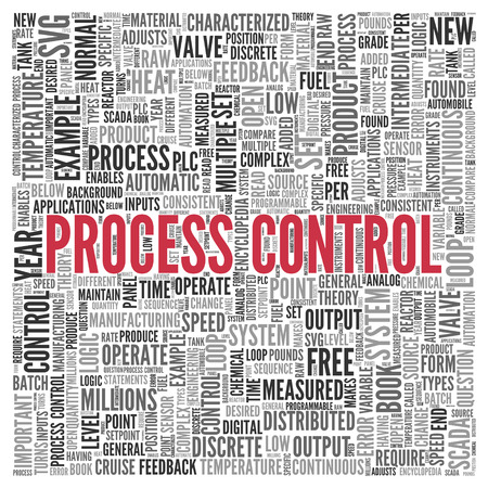 measured: Close up Red PROCESS CONTROL Text at the Center of Word Tag Cloud on White Background. Stock Photo