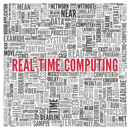 realtime: Close up Red REAL-TIME COMPUTING Text at the Center of Word Tag Cloud on White Background.