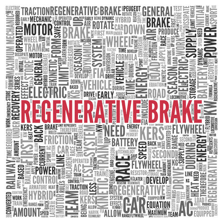 regenerative: Close up Red REGENERATIVE BRAKE Text at the Center of Word Tag Cloud on White Background.