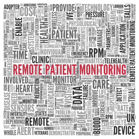 enable: Close up Red REMOTE PATIENT MONITORING Text at the Center of Word Tag Cloud on White Background.