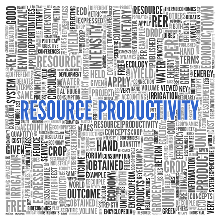 obtained: Close up Blue RESOURCE PRODUCTIVITY Text at the Center of Word Tag Cloud on White Background.