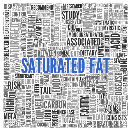 saturated: Close up Blue SATURATED FAT Text at the Center of Word Tag Cloud on White Background.