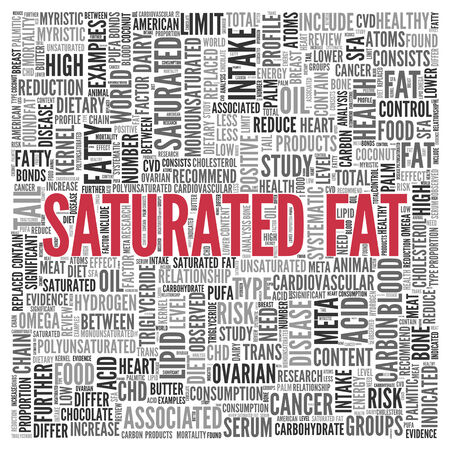 saturated: Close up Red SATURATED FAT Text at the Center of Word Tag Cloud on White Background. Stock Photo