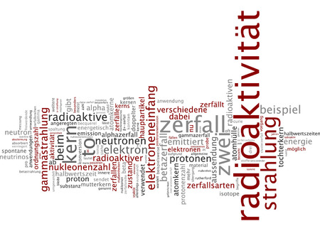 radiactividad: Palabra nube de radiactividad en lengua alemana