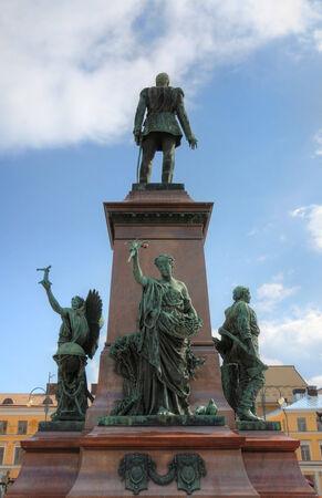 alexander: Statue of Emperor Alexander II of Russia in front of the Helsinki Cathedral in Helsinki, Finland