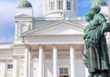 helsinki: Statue in front of the Helsinki Cathedral in Helsinki, Finland