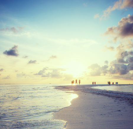 tropical beach panoramic: Panorama of beach on Maldives in dusk Stock Photo