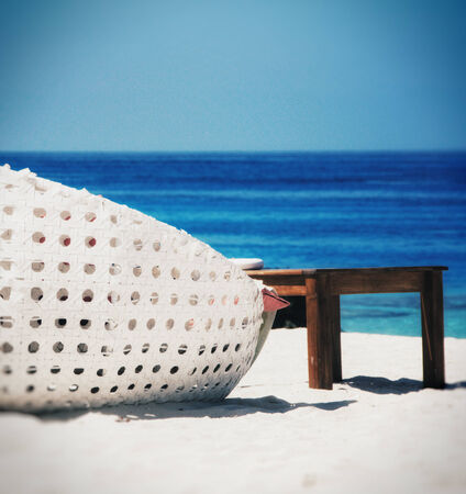 sea bed: Sandy beach with beach bed on Maldives Stock Photo