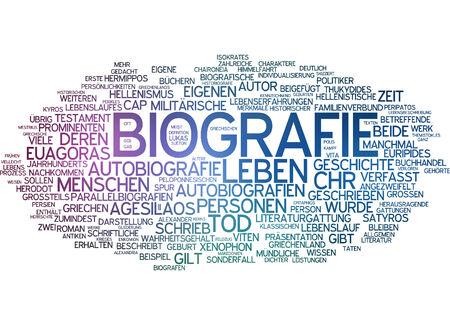 biography: Word cloud - biography Stock Photo