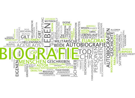 Word cloud - biography Stock Photo