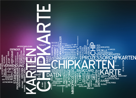 word processors: Word cloud - chip card Stock Photo