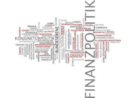 conjuncture: Word cloud - financial politics Stock Photo