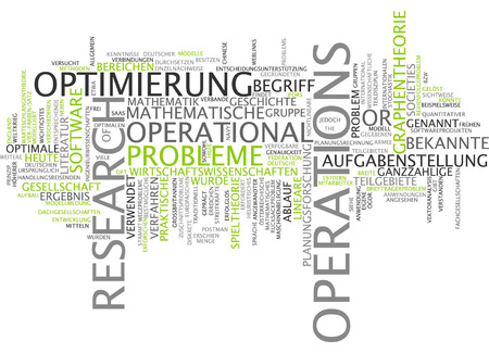 graph theory: Word cloud - operations research Stock Photo