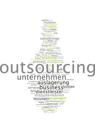enterprising: Word Cloud - Outsourcing Stock Photo