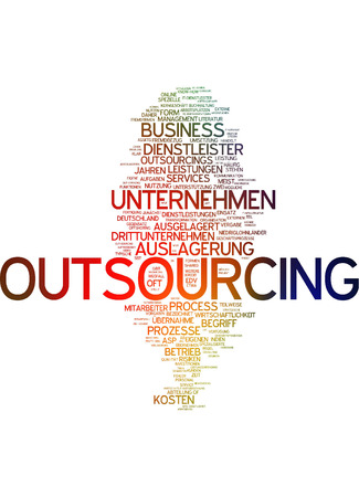 outsourcing: Word Cloud - Outsourcing Stock Photo