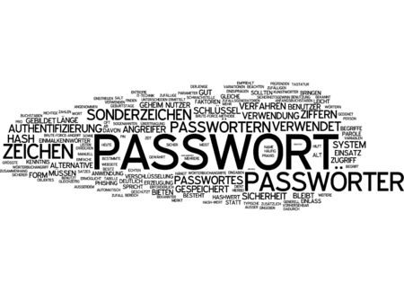 special character: Word cloud - password Stock Photo