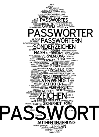 attacker: Word cloud - password Stock Photo