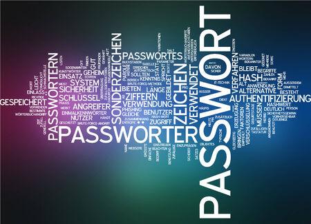 attacker: Word cloud - password Stock Photo